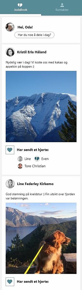 Sånn ser appen ut. Her kan brukeren bla seg gjennom bilder og tekst i en egen feed.