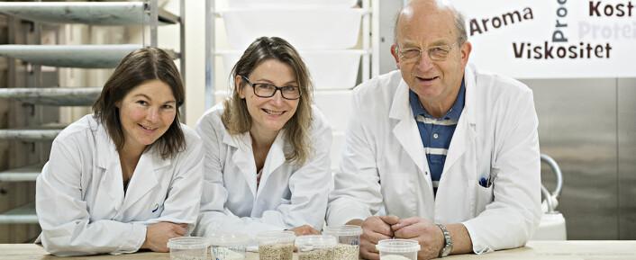 Nofimaforskerne (fra venstre) Ida Rud, Birgitte Moen og Stefan Sahlstrøm med ulike varianter av korn. (Foto: Jon-Are Berg-Jacobsen)