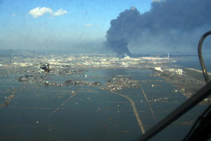Ødeleggelser etter jordskjelv og tsunami i byen Sendai. (Foto: Wikipedia Commons/US Navy)
