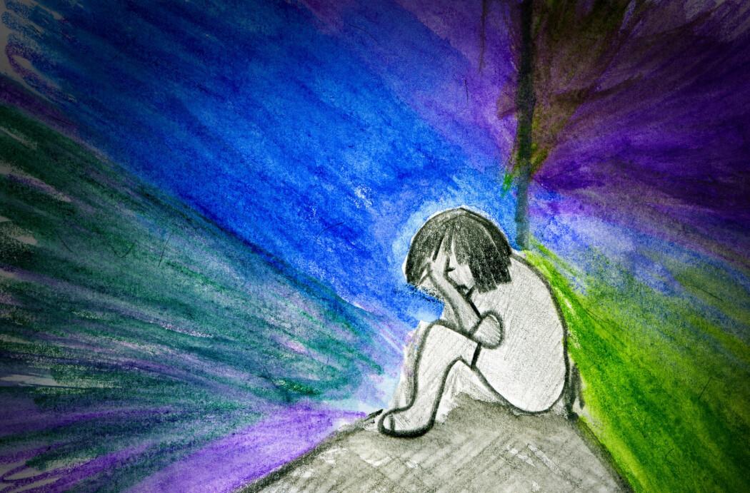 Barna har ofte symptomer på angst og ADHD. (Tegning: Daria Chichkareva / Shutterstock / NTB scanpix)