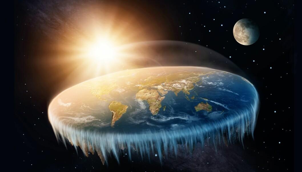 Flat jord-tilhengere tenker seg gjerne jorda som en flat skive, der Nordpolen ligger i midten og Antarktis er en frossen kant rundt hele sirkelen. (Illustrasjon: Elena Schweitzer / Shutterstock / NTB scanpix)