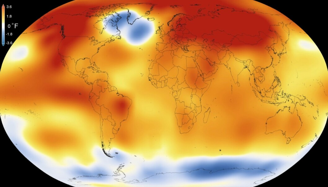 Den såkalte kuldeboblen er synlig på NASAs globale temperaturmålinger for 2015, det varmeste året siden 1880. Irmingerhavet ligger sør for Grønland (Foto: NASA)