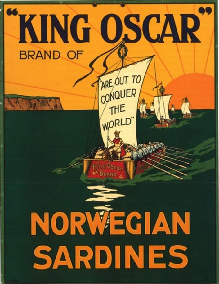 "Reklameplakat for ""King Oscar"" sardiner Foto: MUST/Norsk hermetikkmuseum"