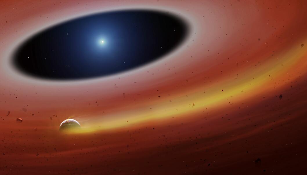 En kunstner ser for seg den lille planeten eller planetfragmentet som går i bane rundt den hvite dvergen