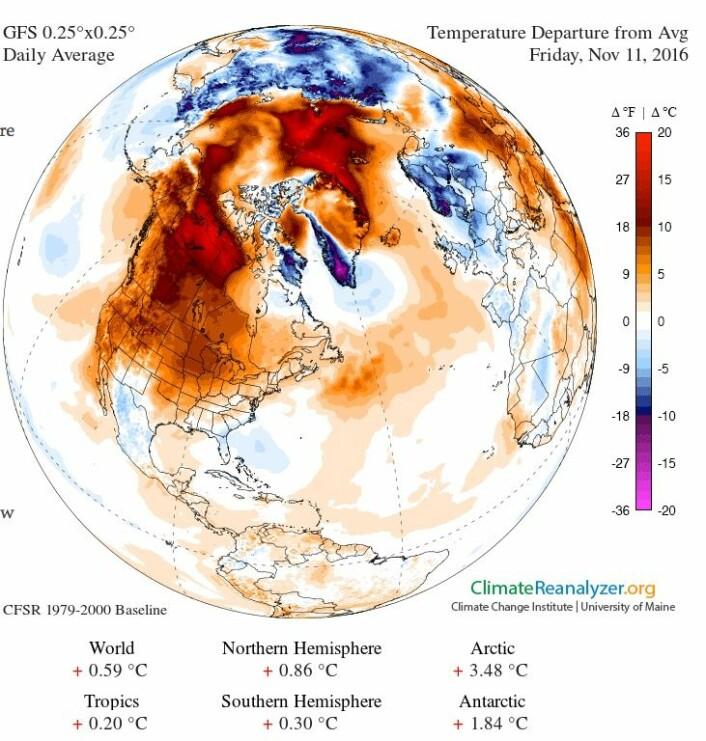11 november: Kaldt i Norge, men varmt i verden. Og på Svalbard. (Bilde: Univ. Maine)