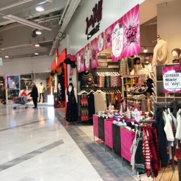 Bildet er tatt utenfor butikken Jens Hoff inne på senteret der endringer gjøres. (Foto: Sintef)