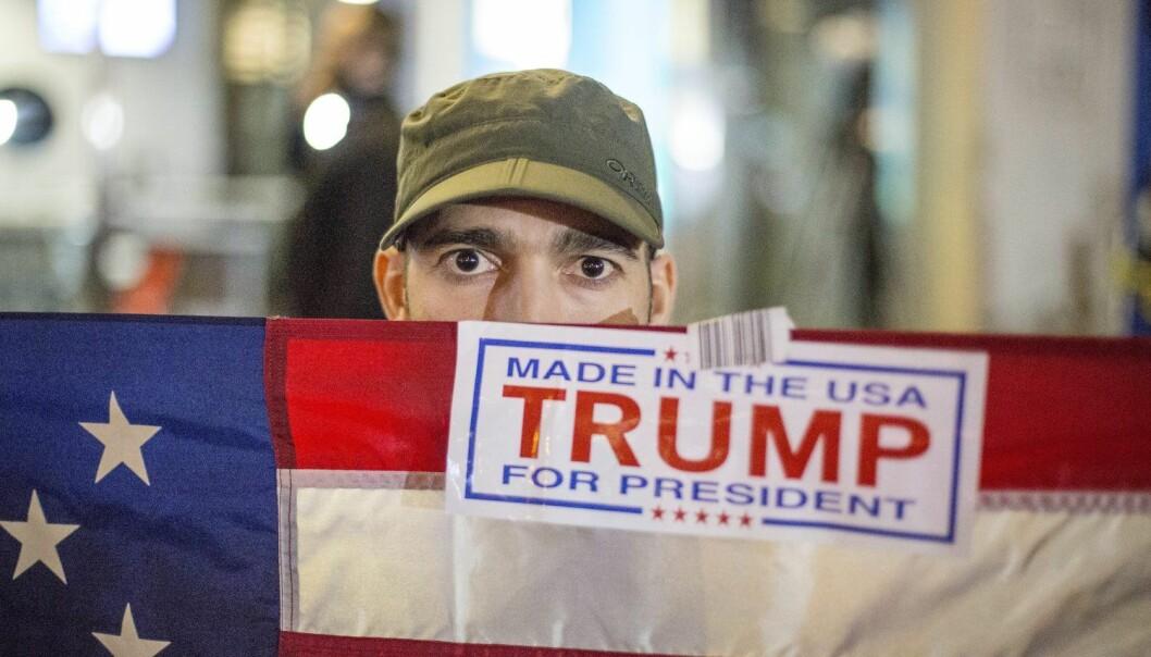 En Trump-velger i New york feirer resultatet. (Foto: Anders Ahlgren, NTB scanpix)