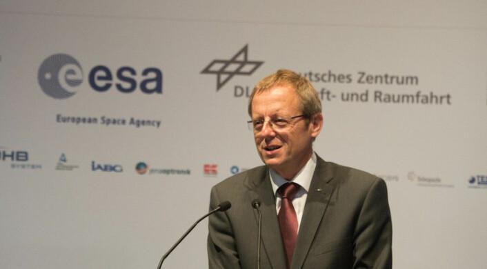 "ESAs generaldirektør Johann-Dietrich ""Jan"" Wörner under pressekonferanse i Paris 7. november 2016. (Foto: ESA)"