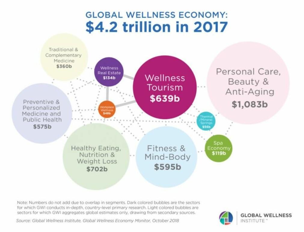 Ifølge Global Wellness Institute hadde industrien i 2017 en global omsetning på 4,2 tusen milliarder dollar. (Grafikk: Global Wellness Institute)