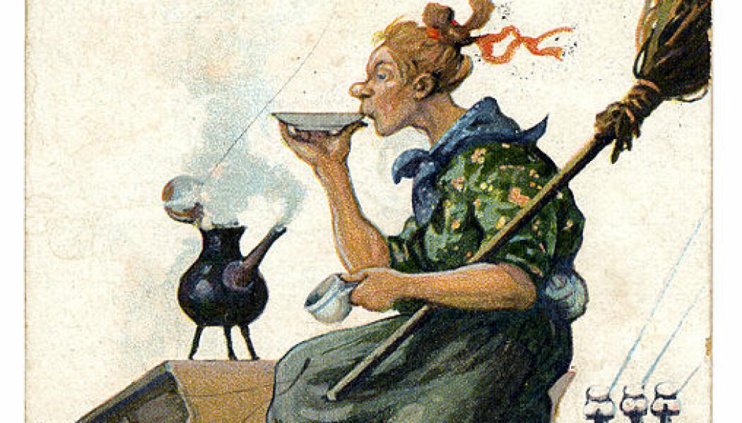 Dette er et gammelt påskekort fra Sverige. (Bilde: Wikimedia Commons, fri bruk)