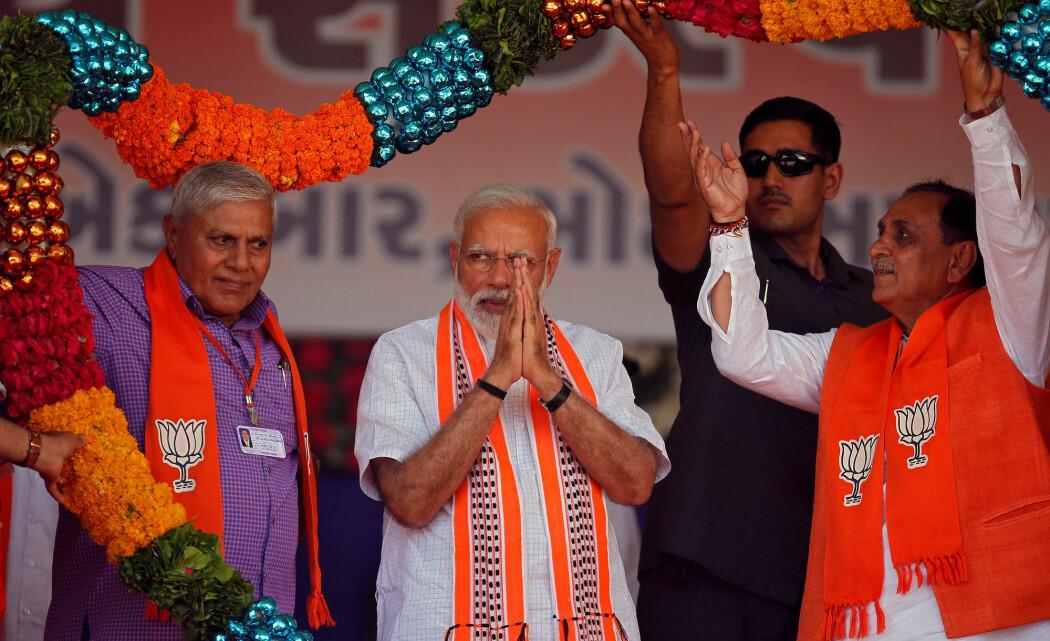 VALGKAMP: Indias statsminister Narendra Modi under et valgkamparrangement 10. april 2019. (Foto: Amit Dave/Reuters/NTB Scanpix)