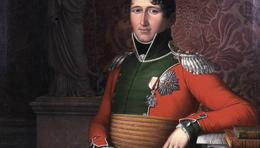 Den danske prinsen Christian Frederik ble valgt til konge av Norge i 1814, i overgangen mellom dansk og svensk union. Han jobbet iherdig for en norsk grunnlov, men neppe fordi han brydde seg om folkestyret. (Maleri: Johan Ludvig Lund, foto: Eidsvoll 1814)