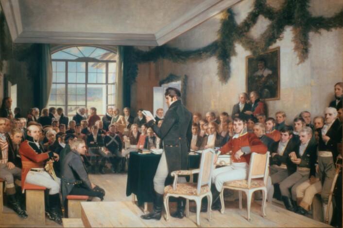 På Eidsvoll ble den norske grunnloven laget i 1814. En dansk prins bidro til at den overlevde i unionen med Sverige. (Foto: Stortingsarkivet)