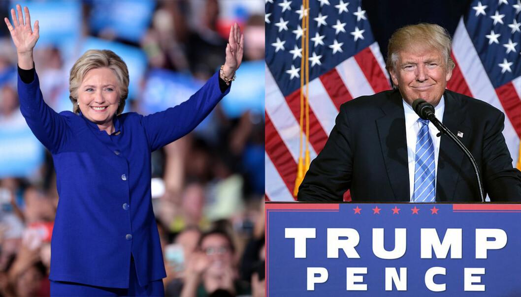 """En av disse blir snart president i USA. Begge har svart på spørsmål fra forskere. <p>(Foto: Kollasje. Begge bilder: Gage Skidmore/<a href=""""https://creativecommons.org/licenses/by-sa/3.0/deed.no"""">CC BY-SA 3.0</a>)</p>"""