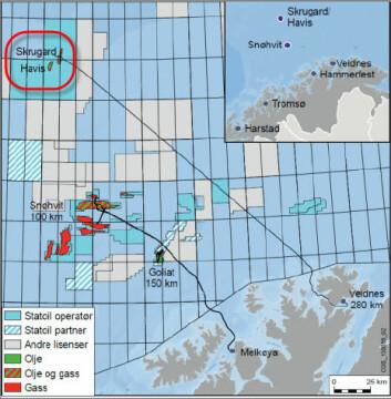 Oljefeltet Johan Castberg 240 km nord for Hammerfest er verdenes nordligste oljefelt. Det består av funnene Skrugard, Havis og Drivis og planlegges satt i produksjon i 2022. (foto: Statoil)