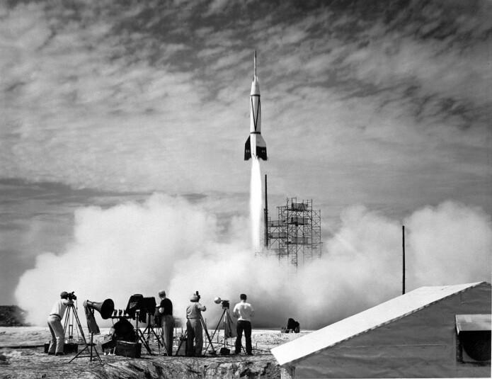 I 1950 foregikk den første oppskytingen fra Cape Caneveral med en påbygget V2-rakett kalt Bumper V2. (Foto: NASA/U.S. Army)