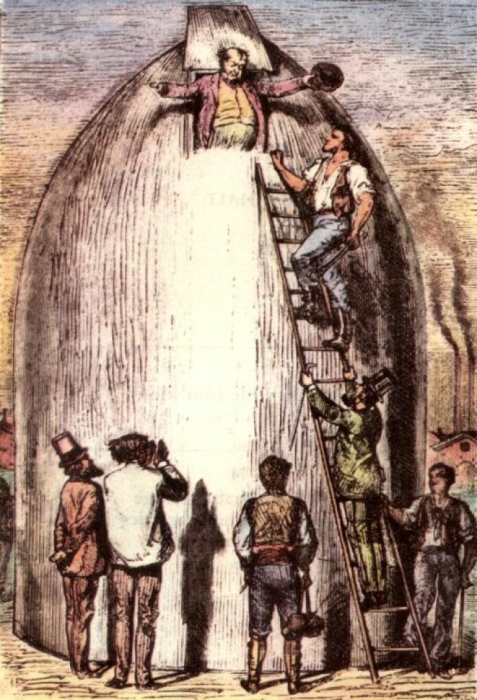 Illustrasjon fra Jules Vernes bok tegnet av Henri de Montaut.