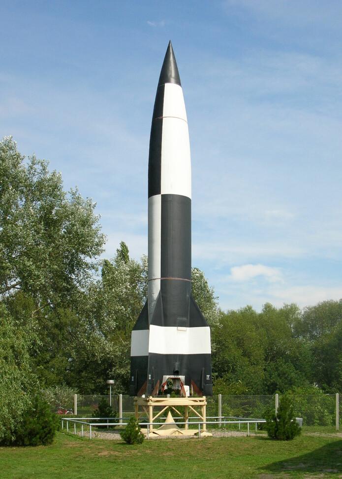 En V2-rakett utstilt ved Peenemünde museum. (Foto: Aelfwine)