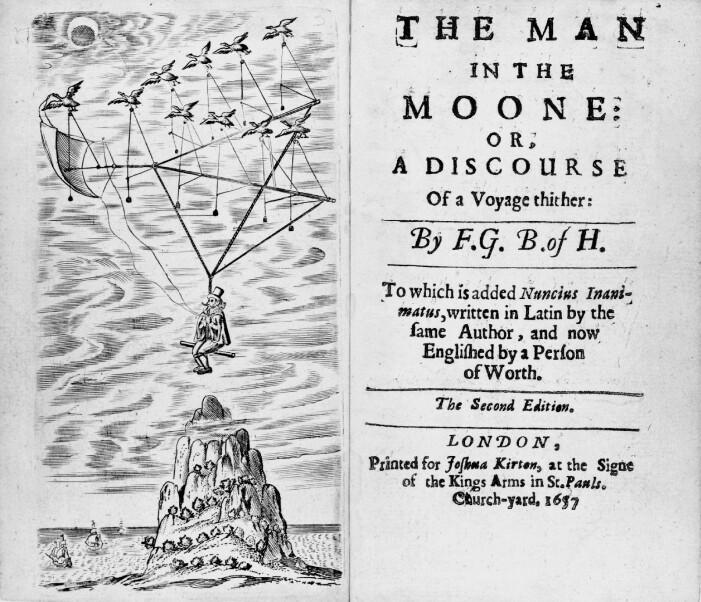 Andre utgave av Man in the Moone fra 1657 var illustrert, og her kan vi se hvordan Gonsales ble fraktet til månen. (Foto: Houghton Library)