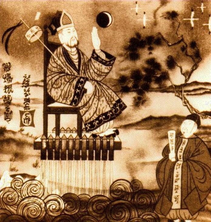 Legenden om Wan Hu illustrert slik Wan Hu håpet det skulle gå. (Illustrasjon: NASA)