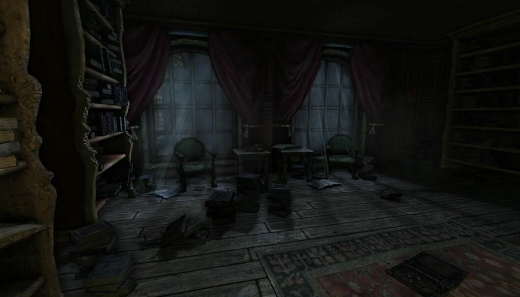 I horrorspillet «Amnesia: The Dark Descent» våkner du opp i mørket uten å vite hvor eller hvem du er. Spillet bruker psykologiske virkemidler som mørke og høye lyder, noe vi gjennom evolusjonen har utviklet angst for.  (Foto: Frictional games)