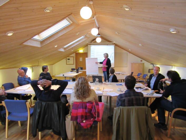 Bønder, forskere, fagforeningsfolk og landskapsarkitekter samlet seg på fagmøtene, her fra møtet i Rogaland. (Foto: Anne-Grete Buseth Blankenberg)