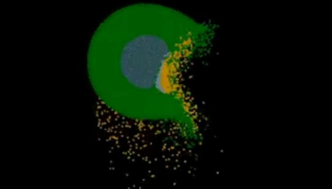12 minutter etter katastrofen: En planet på størrelse med Mars – kalt Theia – har slått rett inn i den unge jordkloden for 4,5 milliarder år siden. Store deler av de to klodene fordamper, og jordaksen vris sidelengs mens en sky av gass rundt etter hvert samler seg og blir til månen. En ny og mer voldsom teori for hvordan månen oppstod er publisert av amerikanske forskere i tidsskriftet Nature. (Bilde: Fra video av Sarah Stewart-Mukhopadhyay på YouTube. Videoen er lenket lenger ned i artikkelen.)