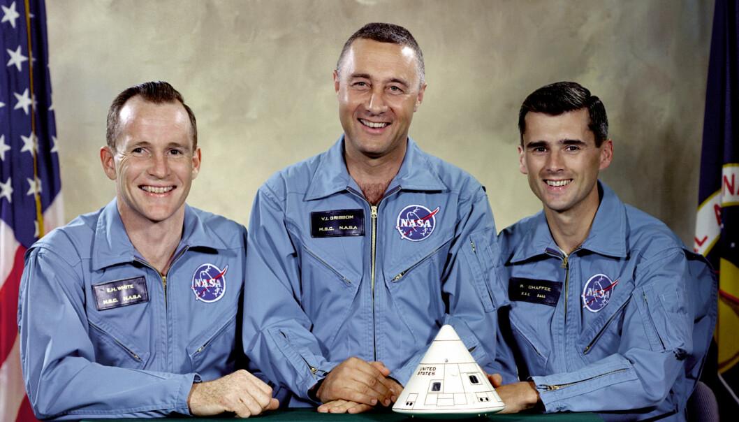 """Mannskapet på Apollo 1 som døde i den tragiske ulykken. Fra venstre: Ed White, Virgil """"Gus"""" Grissom og Roger Chaffee. (Foto: NASA)"""