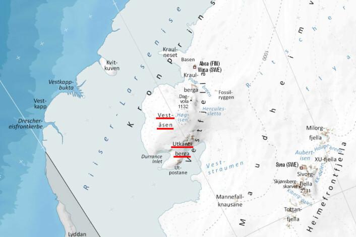 Veståsen og Utkantberga er to av de nye stedsnavene som Skoglund laget. Veståsen ligger lengst vest, mens Utkantberga er fjellene lengst ut i Dronning Maud Land. (Foto: (Illustrasjon: Anders Skoglund / Norsk Polarinstitutt))