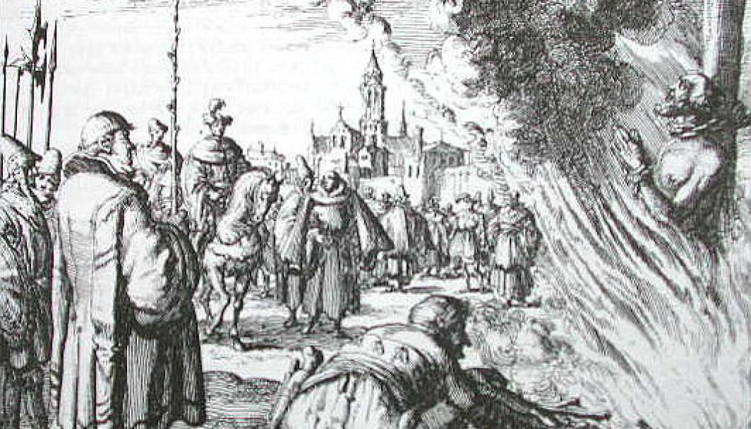 Mannlig heks brennes på bålet. (Kilde: Wikimedia Commons)