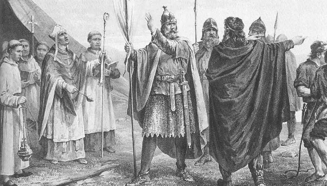 Slik så tegneren Peter Nicolai Arbo for seg at Olav Tryggvason så ut da han ble konge av Norge. Tryggvason skal ha tatt gisler mer enn en gang for å få gjennom sin vilje. (Bilde: Peter Nicolai Arbo)