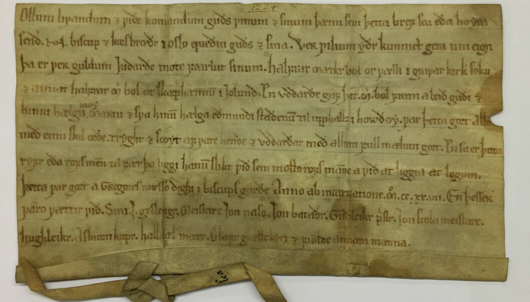 Dette brevet er datert 12. mars 1225. Det kan være et av de eldste skriftlige tilfellene av datering vi kjenner til i dag. (Foto: Jo Rune Ugulen/Riksarkivet)