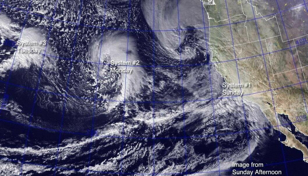 Den første bølgen av El Niño-stormer i januar 2010. Foto: United States Naval Research Laboratory, Monterey via Wikimedia Commons. (Foto: United States Naval Research Laboratory, Monterey via Wikimedia Commons)