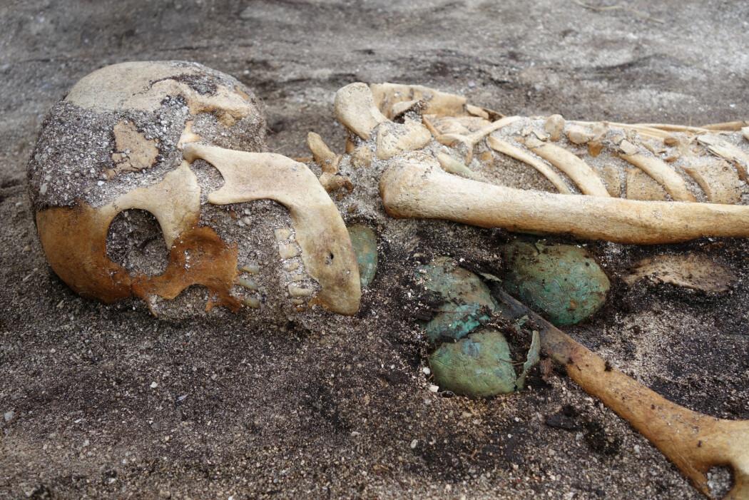Kvinnen fra Hillesøy hadde trolig høy status i det norrøne samfunnet, noe forskerne blant annet kan se på skålspennene hun ble gravlagt med. (Foto: Norges arktiske universitetsmuseum)