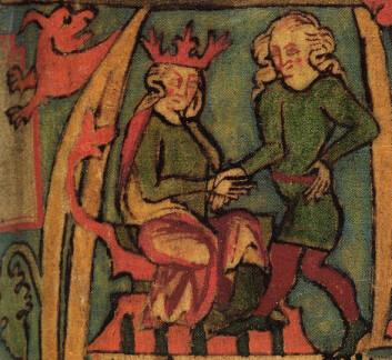 En illustrasjon av Harald Hårfagre fra det islandske manuskriptet Flateyjarbók (Flatøybok) fra midddelalderen. (Foto: (Bilde: Flateyjarbók/Offentlig domene))