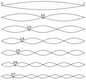 En streng kan svinge med hele lengden. Det gir den dypeste tonen. Svingebølgen kan også dele opp strengen i flere like lange, kortere og kortere deler. Slik oppstår den harmoniske overtonerekken. (Foto: (Figur: Wikimedia Commons, public domain))