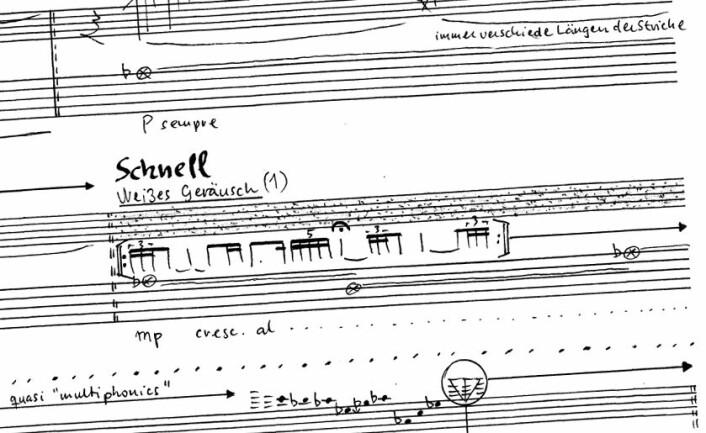Hvit støy er ren støy som består av alle tonehøyder fra de fresende lyseste til de buldrende mørkeste, omtrent som lyden av en foss. (Foto: (Figur: Fra partituret til komposisjonen skrevet av Edvin Østergaard.))