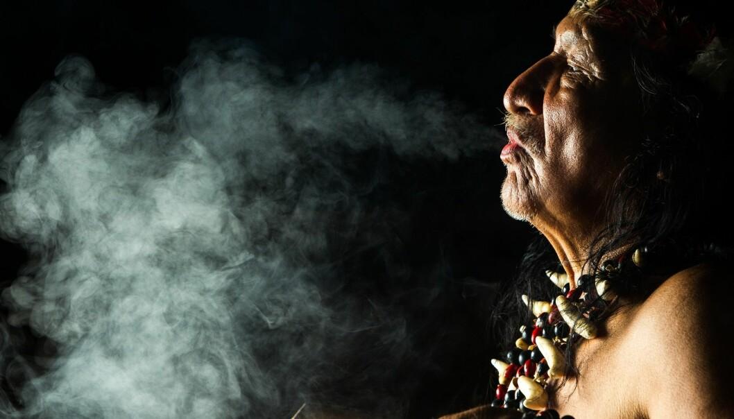 Vestlige spirituelt søkende reiser i horder til Peru og inn i Amazonas, skriver Erik Tunstad. På bildet ser du en sjaman fra Ecuador under et ayahuasca-rituale. (Foto: Ammit Jack, Shutterstock, NTB scanpix)