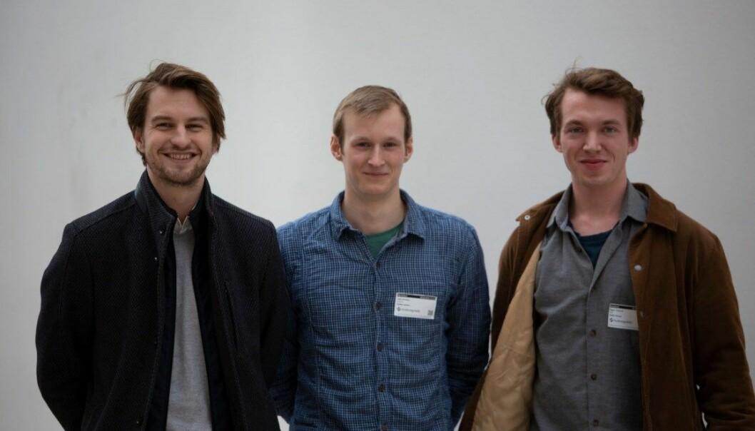 Salmogram er ett av prosjektene som får støtte. Fra venstre: Mathias Elvestad, Vetle Brekmo, Hågen Toverud. (Foto: Forskningsrådet)