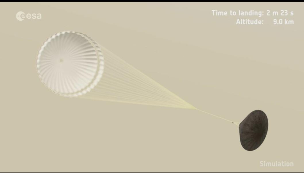 Schiaparelli på vei gjennom Mars' atmosfære, slik ESA har sett det for seg i en datasimulering. Det siste minuttet av landingen gikk sannsynligvis galt.  (Bilde: ESA/Skjermdump)