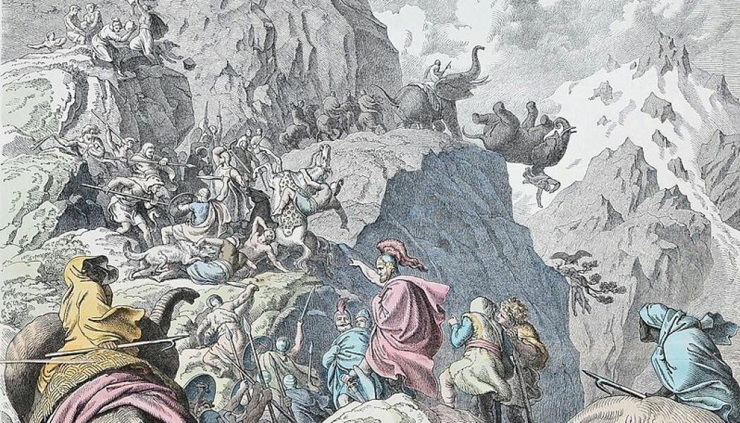 Moderne framstilling av Hannibals ferd over alpene. Hannibal var Kartagos mest kjente general. (Bilde: Heinrich Leutermann)