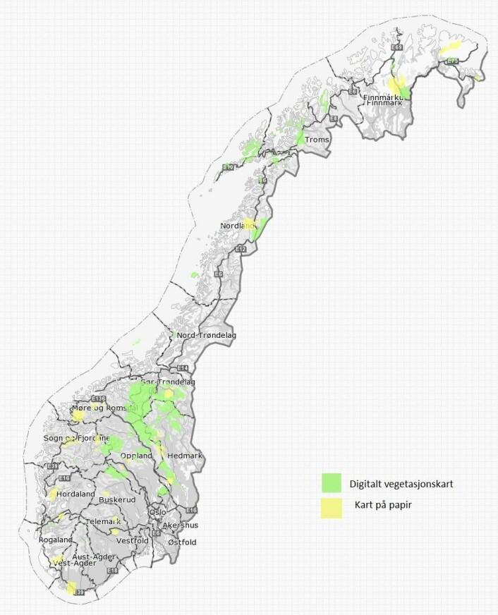 Områdene som er vegetasjonskartlagt og registrert den 18. oktober 2016. (Foto: Kilde: kilden.nibio.no)