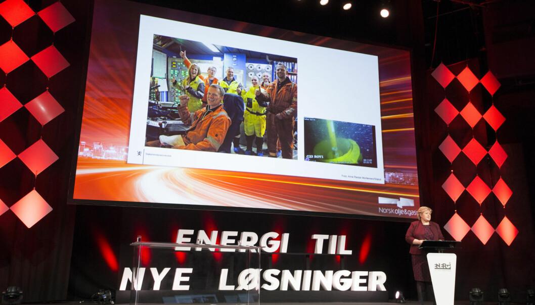 Prioriterer Erna Solberg og regjeringen feil forskning for å møte klimamålene? Her fra Norsk olje & gass årsmøte på Chatau Neuf i Oslo. (Foto: Terje Bendiksby / NTB scanpix)