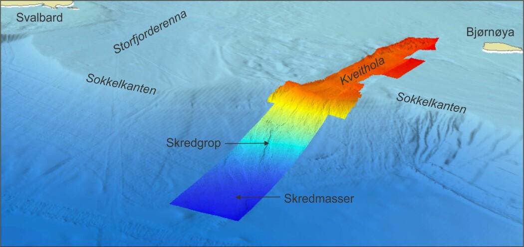 3D-bilde over MAREANO sitt kartleggingsområde på kontinentalskråningen vest for Kveithola. Dybdedataene er samlet inn av MAREANO og Universitetet i Tromsø. Området med skred er vist. Rødt: grunnest; Dypt blått: dypest. Dybdedataene som dekker resten av kartet i blått er fra EMODNET.