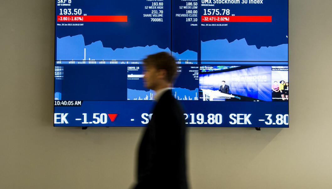 Svenske fondsforvaltere tjente hverken mer eller mindre penger på børsen enn folk flest.  (Foto: Pontus Lundahl / NTB scanpix)