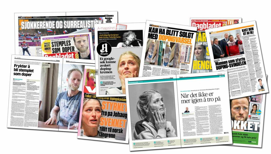 Mediene tar i bruk sterke ord når det er snakk om doping i toppidretten.  (Foto: faksimile fra VG, Aftenposten og Dagbladet)