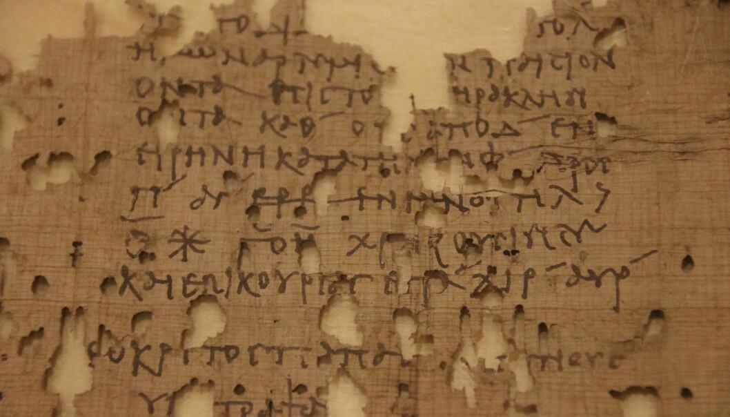 Utdrag fra anbefalingsbrevet, som ble båret av to menn i Egypt for nesten 2000 år siden. (Bilde: Lasse Biørnstad/forskning.no)