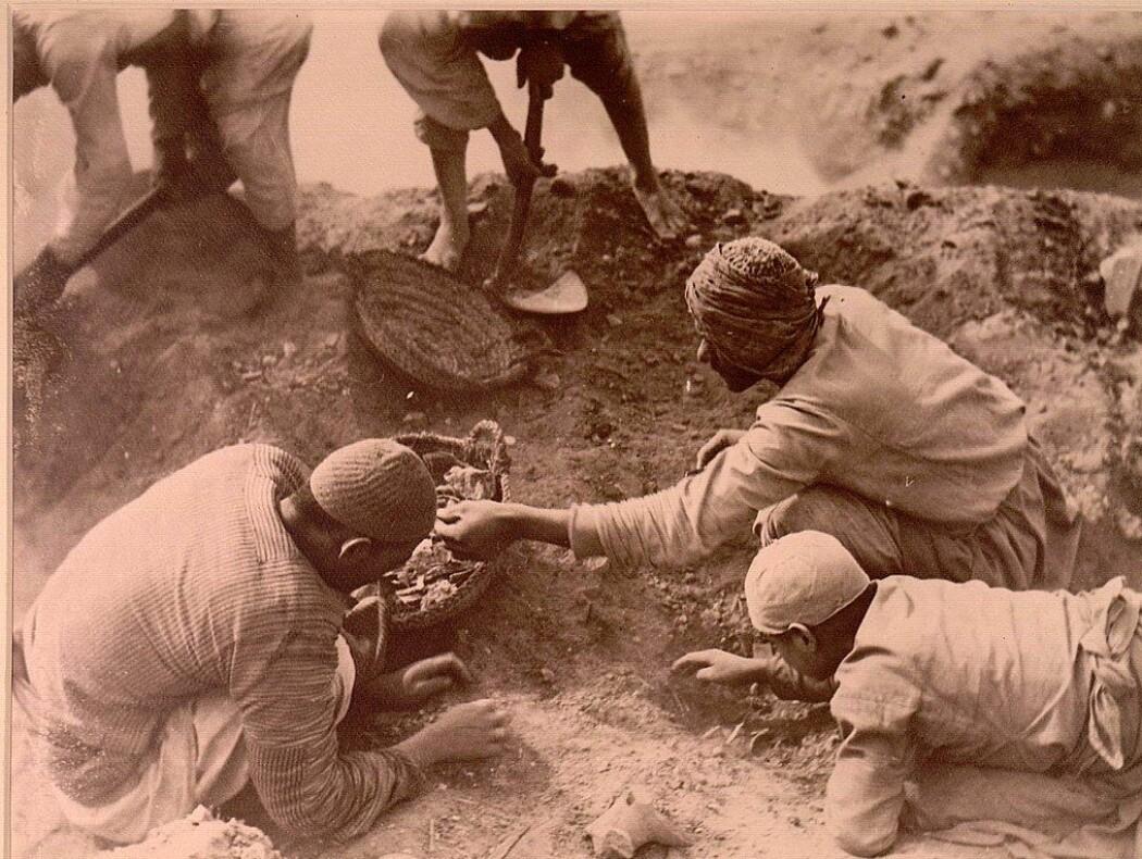 Fra utgravningene ved Oxyrynchos, sør i Egypt på begynnelsen av 1900-tallet. (Bilde: Arthur Surridge Hunt)