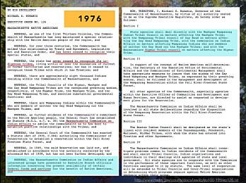 """Slike dokumenter er noen av kildene til den amerikanske delen av prosjektet. Her ser vi en """"executive order"""" fra guvernøren av Massachusetts, et svar på aktivisme i 1970-årene."""