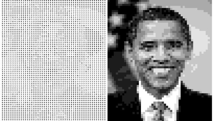 De elektriske signalene fra øyets netthinne er i prinsippet ikke noe annet enn tall som hjernens visuelle system analyserer lynkjapt for å finne for eksempel ansiktet til en amerikansk president. (Illustrasjon: PixelObama, Milad Hobbi Mobarhan, CC BY 4.0 https://creativecommons.org/licenses/by/4.0/deed.no)